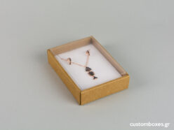 Eco-friendly jewellery box No7 for pendants with white velvet insert and transparent lid.