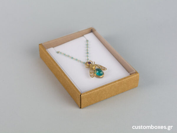 Eco-friendly jewellery box No10 for pendants with white velvet insert and transparent lid.