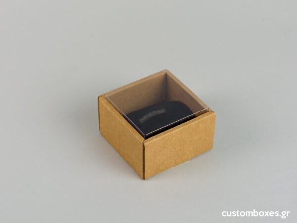 Eco-friendly jewellery box with black velvet insert and transparent lids for big rings.