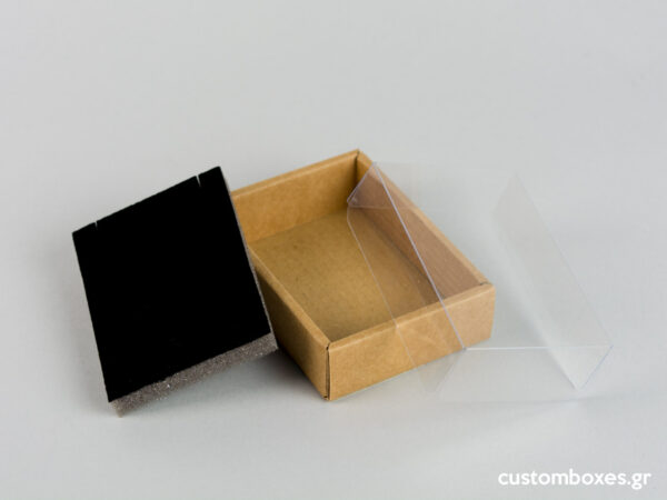 Eco-friendly jewellery box No5 with black velvet insert and transparent lids for pendants.