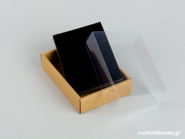 Eco-friendly jewellery box No7 with black velvet insert and transparent lids for pendants.