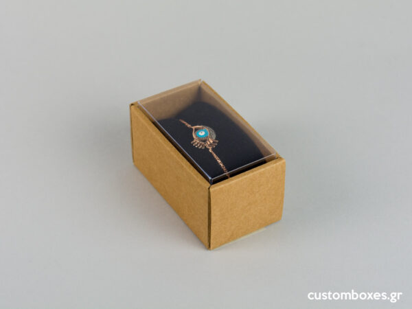 Eco-friendly jewellery box with black velvet insert and transparent lids for bracelets.