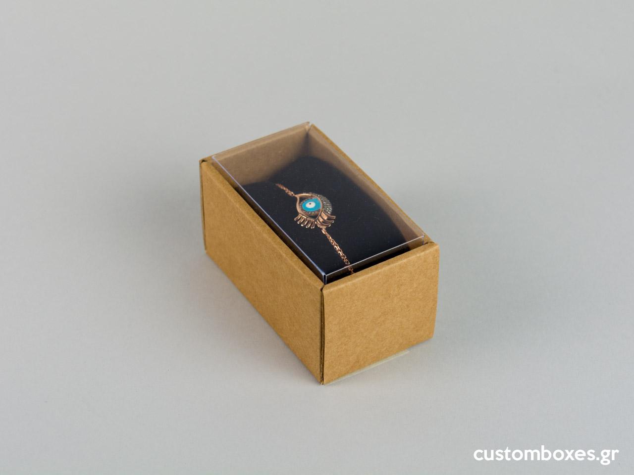 Οικολογικό κουτί kraft με διάφανο καπάκι και μαύρη βελούδινη βάση βραχιόλι