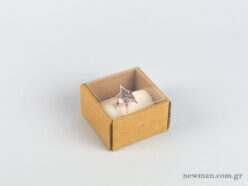 Eco-friendly jewellery box for big rings with ivory velvet insert and transparent lid.