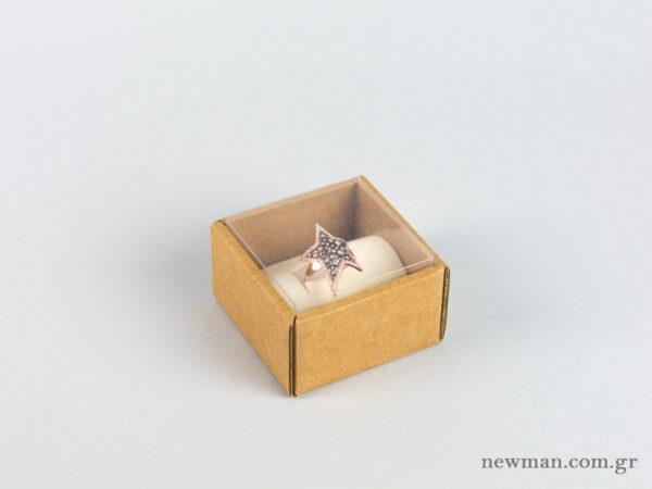Οικολογικό κουτί kraft με διάφανο καπάκι και εκρού βελούδινη βάση μεγάλο δαχτυλίδι