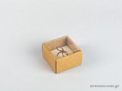 Οικολογικό κουτί kraft με διάφανο καπάκι και εκρού βελούδινη βάση μικρό δαχτυλίδι
