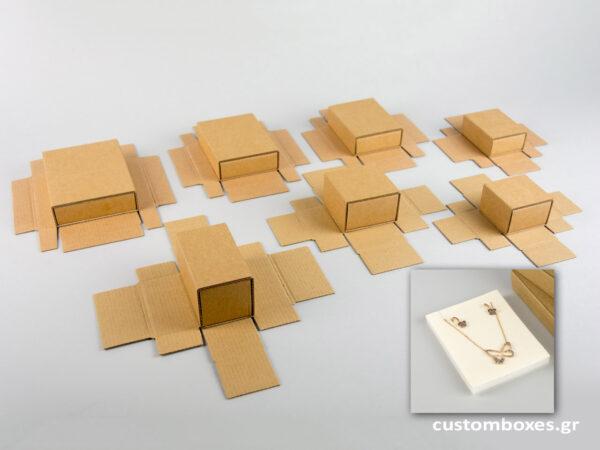 Κουτί kraft συρταρωτό σπιρτόκουτο με εκρού βελούδινη βάση σε 7 μεγέθη