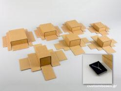 Κουτί kraft συρταρωτό σπιρτόκουτο με μαύρη βελούδινη βάση σε 7 μεγέθη