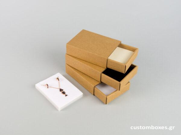 Κουτί kraft συρταρωτό σπιρτόκουτο με βελούδινη βάση μενταγιόν νο7
