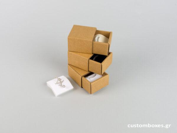 Κουτί kraft συρταρωτό σπιρτόκουτο με βελούδινη βάση μικρό δαχτυλίδι