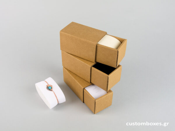 Κουτί kraft συρταρωτό σπιρτόκουτο με βελούδινη βάση βραχιόλι