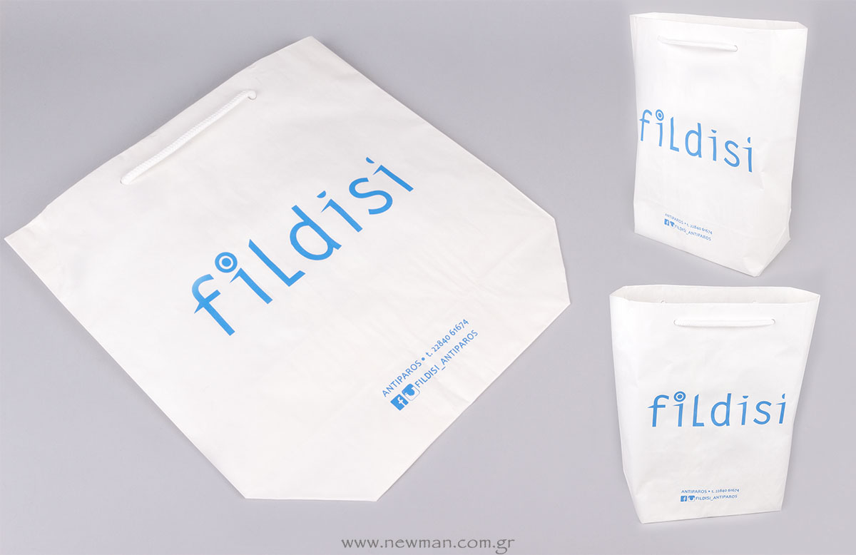 Χάρτινη τσάντα cuba λευκή με εκτύπωση γαλάζιο χρώμα με τεχνική μεταξοτυπίας