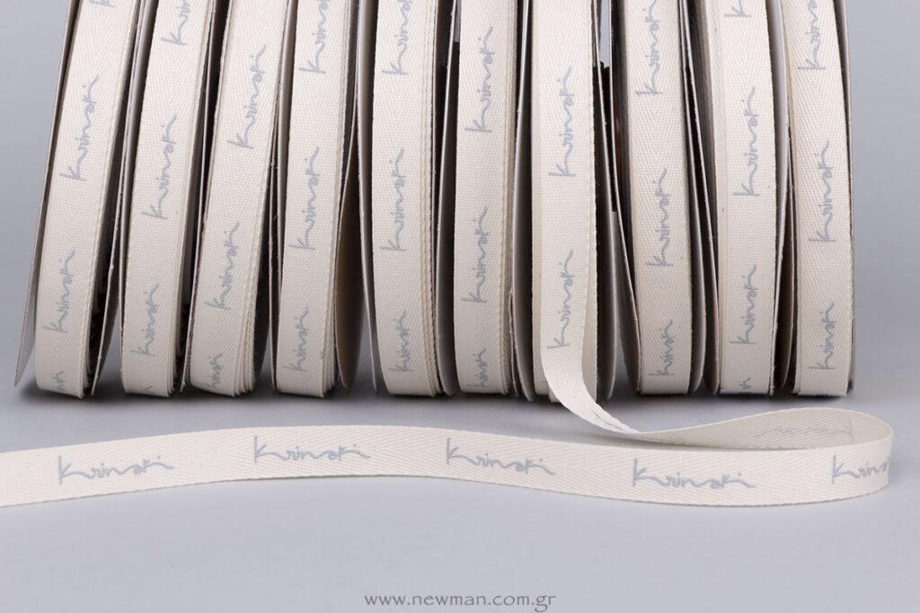 Krinaki ανάγλυφη εκτύπωση γκρι σε εκρου κορδέλα φακαρόλα