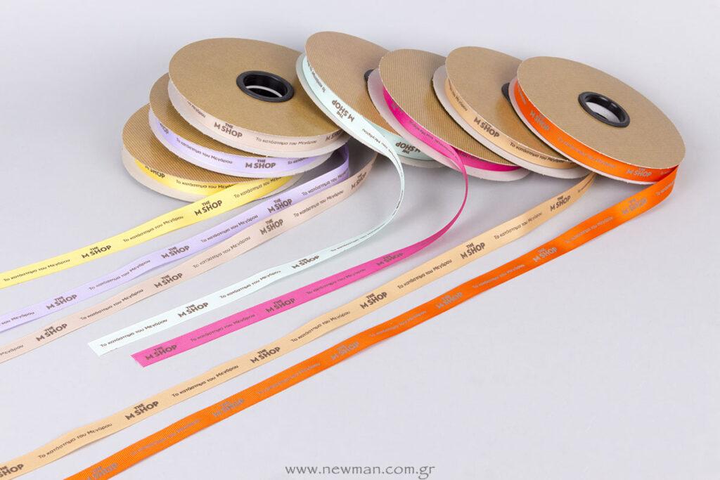 Εκτύπωση με ανάγλυφη μεταξοτυπία σε διάφορα χρώματα κορδέλας