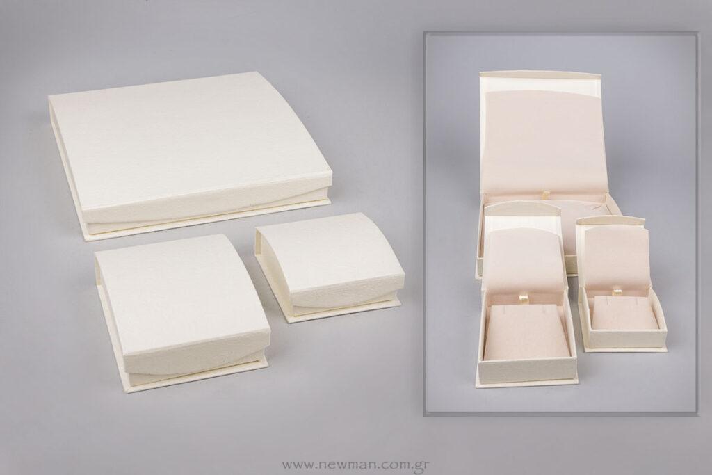 DRP χάρτινη ανάγλυφη σειρά κουτιά για κοσμήματα με εκτύπωση επωνυμίας
