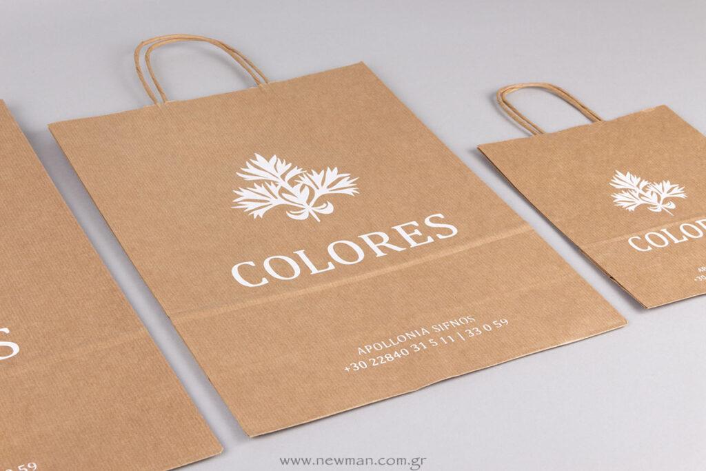 Colores Sifnos logo σε χάρτινη τσάντα στριφτό χεράκι κραφτ