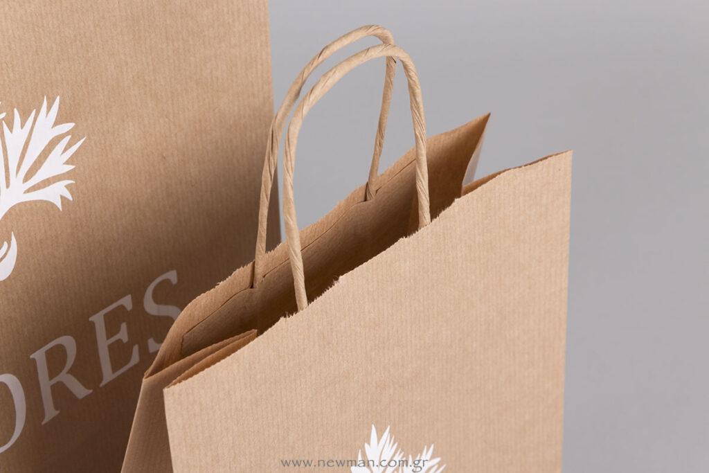 Χάρτινη οικολογική τσάντα κραφτ με στριφτό χεράκι
