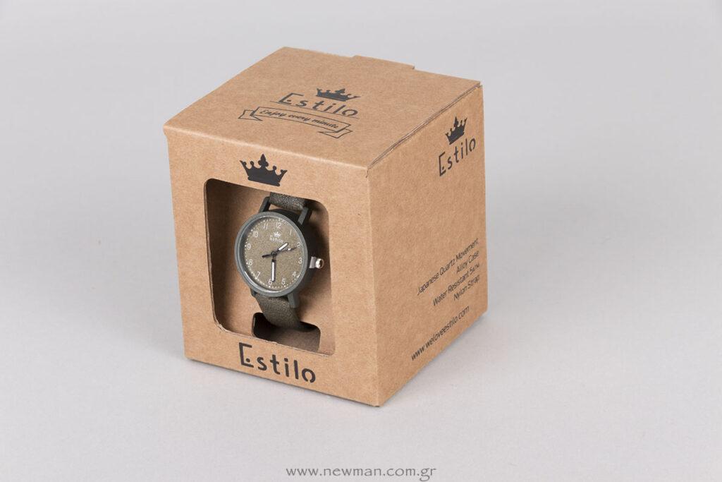 Custombox κουτί για ρολόι Estilo με μαύρη εκτύπωση