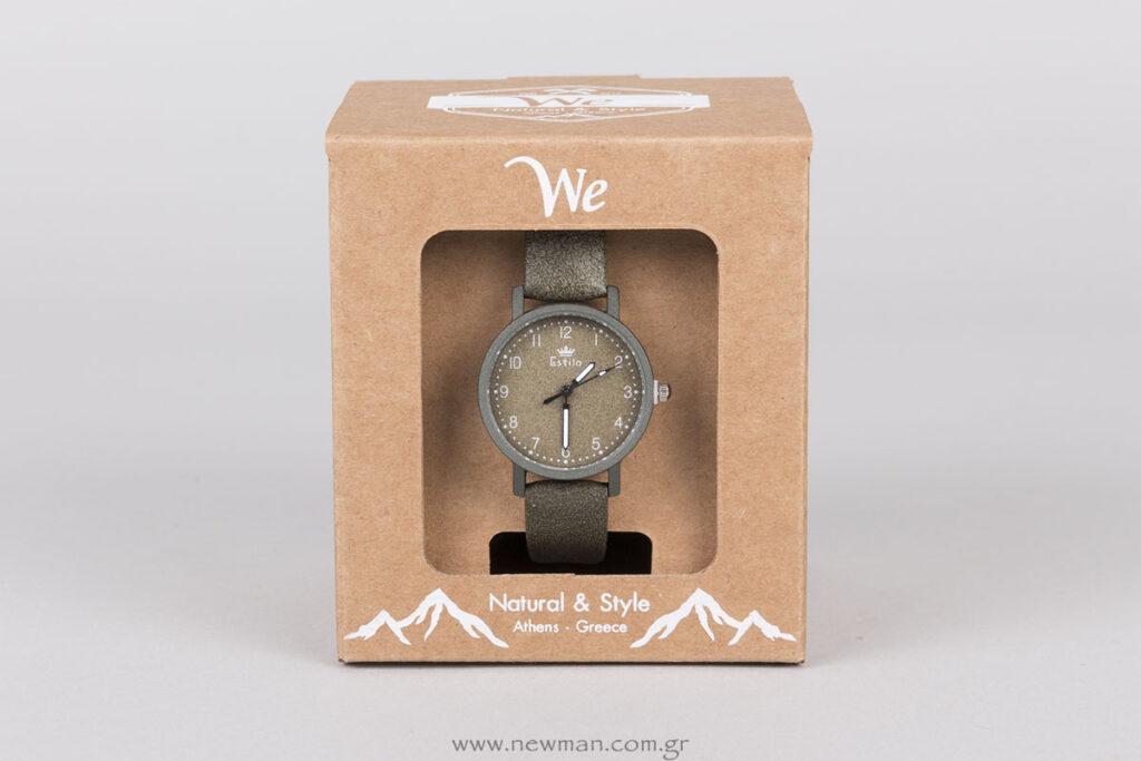 Custombox κουτί για ρολόι WE με λευκή εκτύπωση