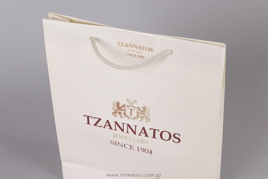 Χάρτινη τσάντα & ετικέτες με εκτύπωση λογότυπο TZANNATOS