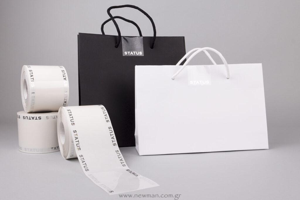 Διάφανες τυπωμένες ετικέτες για κλείσιμο τσάντας