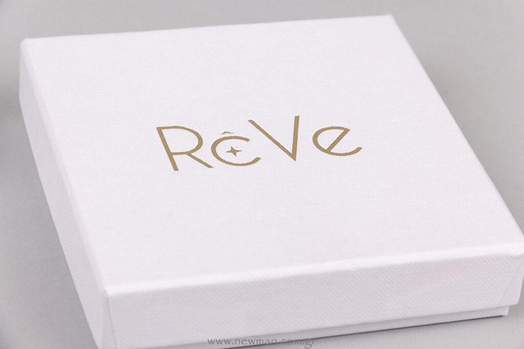 Reve logo σε συσκευασία κοσμημάτων
