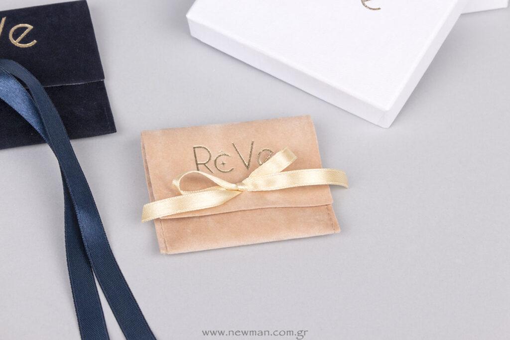 Βελούδινο πουγκί για κοσμήματα με λογότυπο Reve