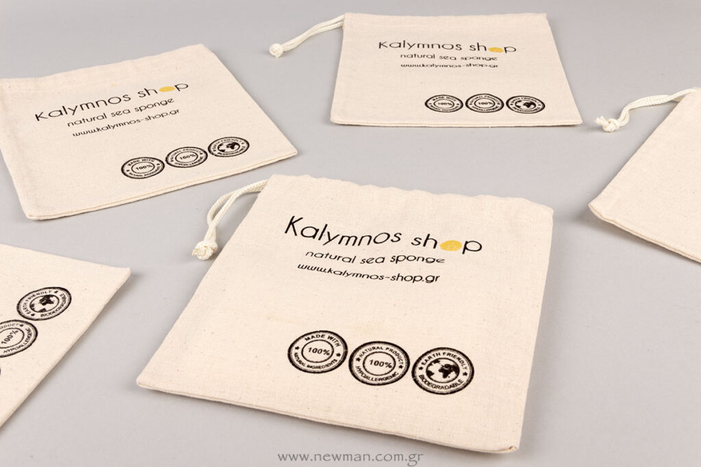 Klaymnos Shop logo printed on pouches
