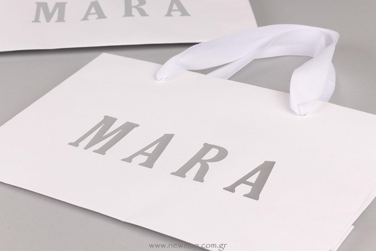 Αημί εκτύπωση σε λευκή χάρτινη τσάντα