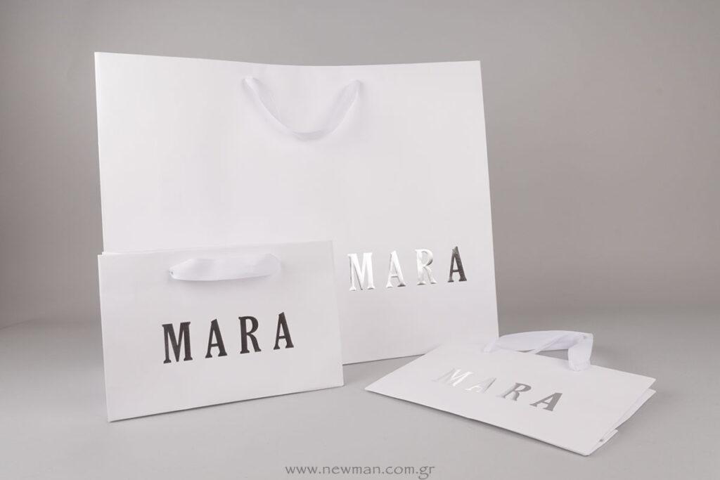 Χάρτινες τσάντες με εκτύπωση ασημί