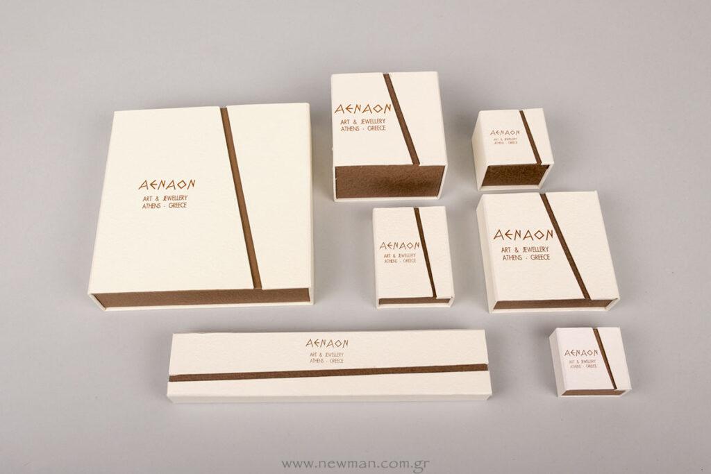 AENAO Art and Jewellery λογότυπο σε κουτιά κοσμημάτων BJ