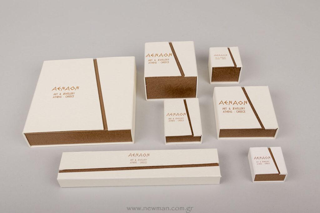 AENAO Art & Jewellery λογότυπο σε κουτιά κοσμημάτων BJ