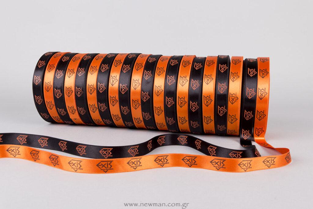 Μαύρο-πορτοκαλί κορδέλα με λογότυπο Exis Silver Jewellery