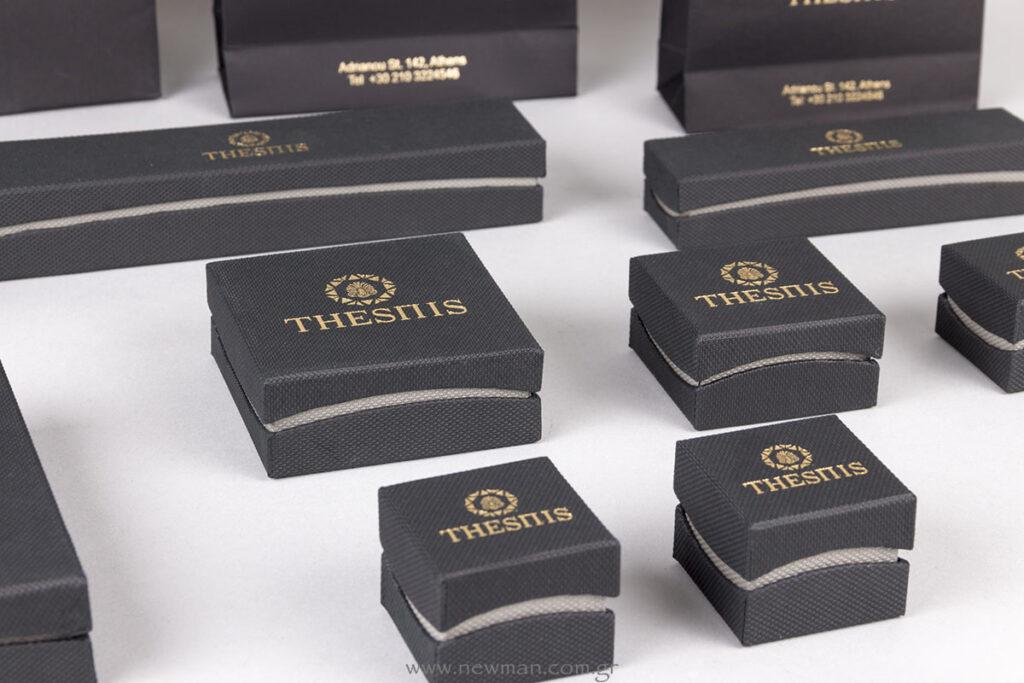 PN κουτιά κοσμημάτων μαύρο/γκρι με χρυσό λογότυπο