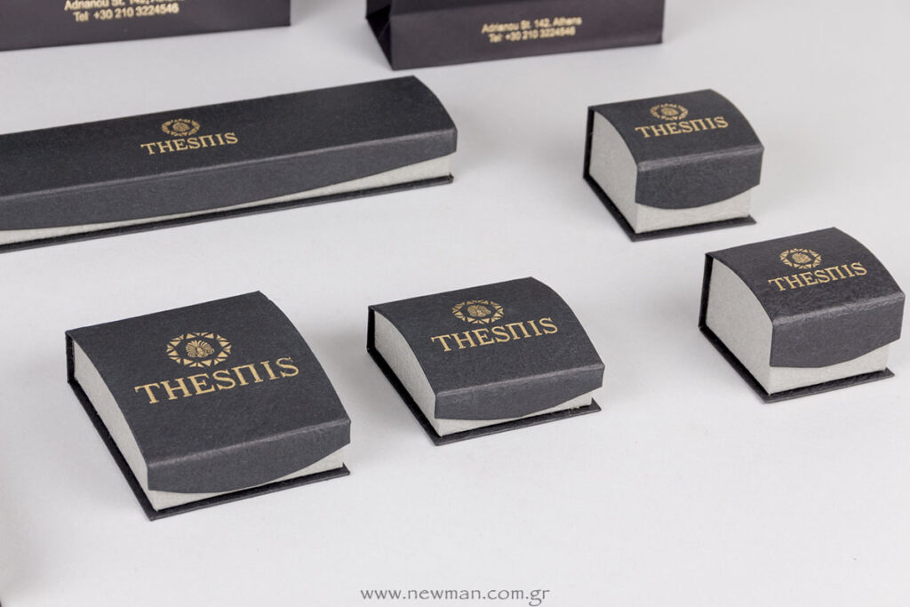 DRP κουτιά κοσμημάτων μαύρο/γκρι με χρυσό λογότυπο