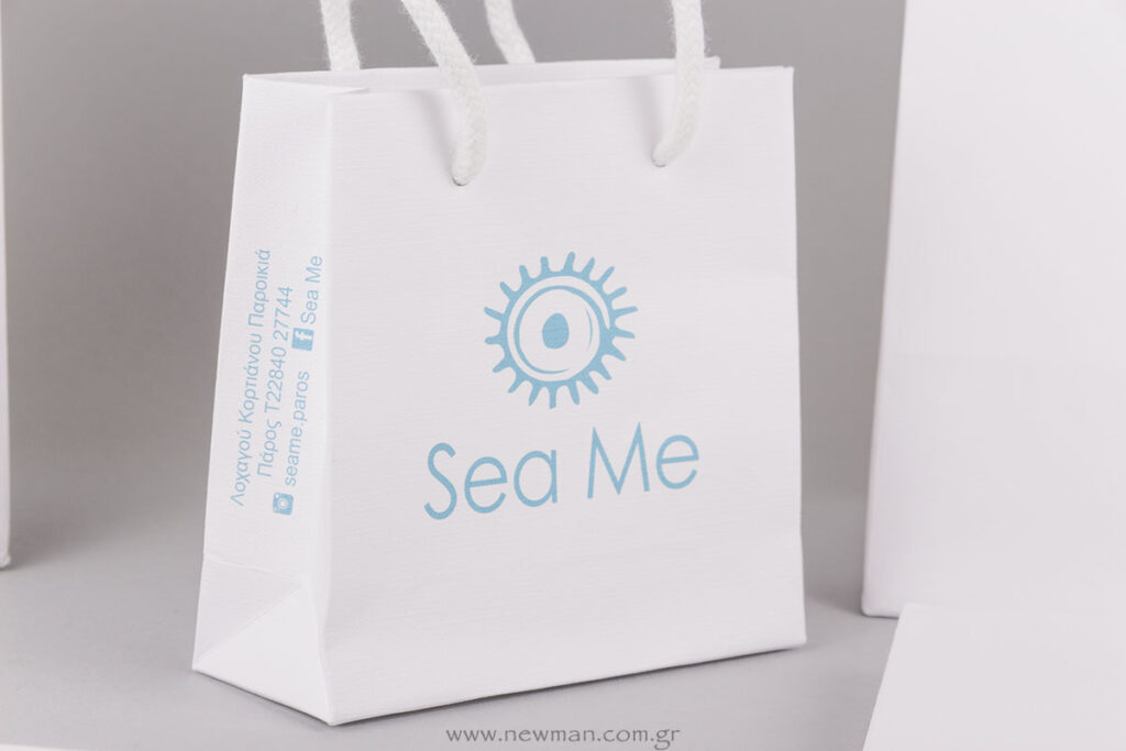 Τσάντα με εκτύπωση μεταξοτυπίας σε γαλάζιο χρώμα