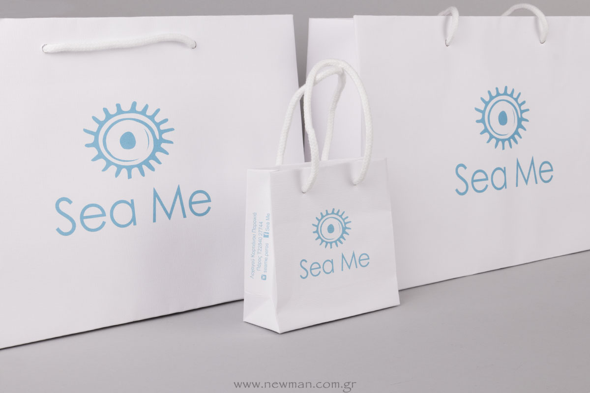 2 Sizes white bags with logo printed