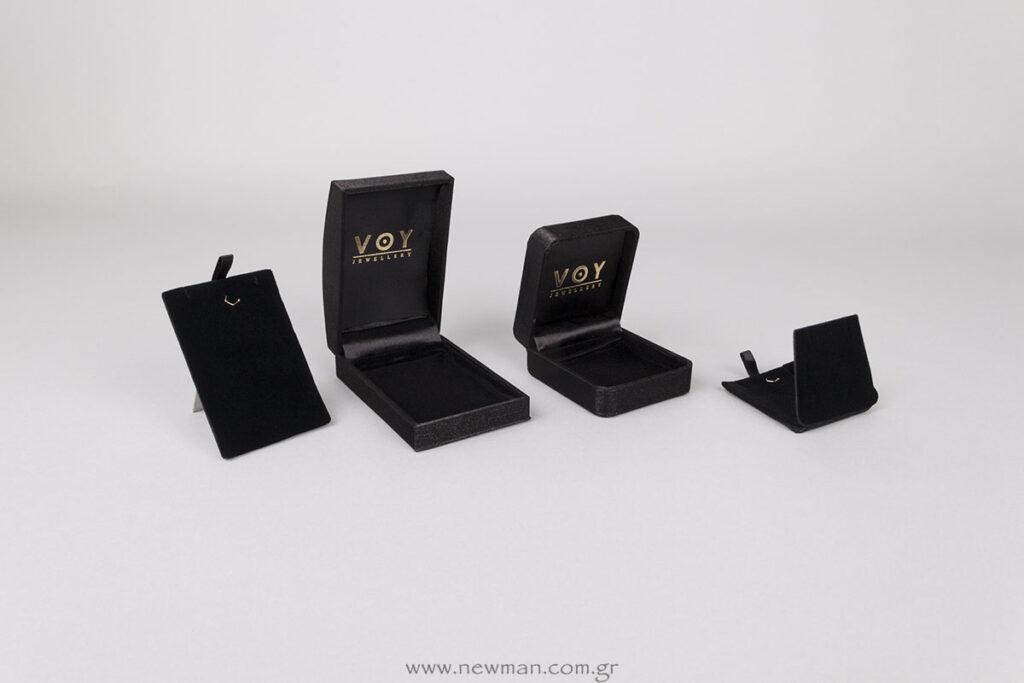 Κουτιά κοσμημάτων σατέν μαύρτα με χρυσή εκτύπωση
