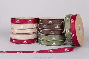 Estilo embossed logo printed on ribbons