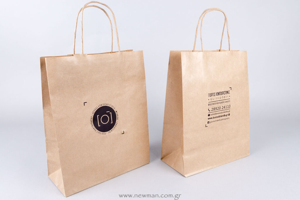 Μεταξοτυπία σε χάρτινη κραφτ τσάντα με στριφτό χεράκι