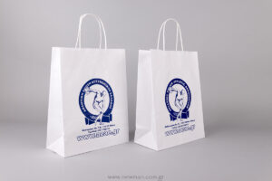 White twist handle paper bag with logo