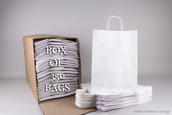 Box with 350 white carrier bags