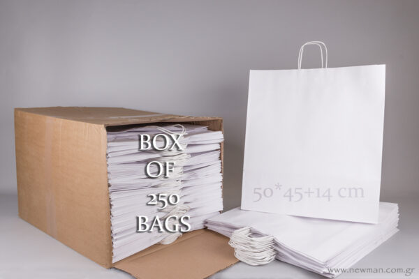 Box with 250 white carrier bags