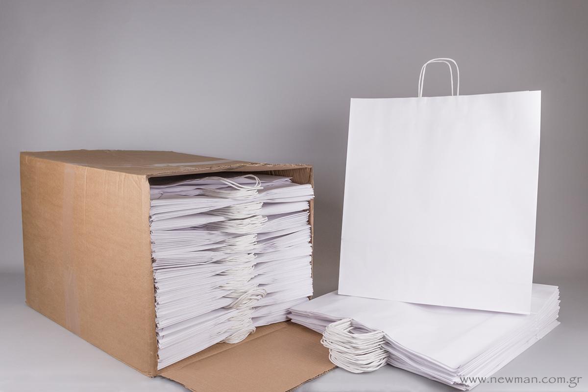 Τσάντα λευκή με στριφτό χεράκι 50x45+14 cm