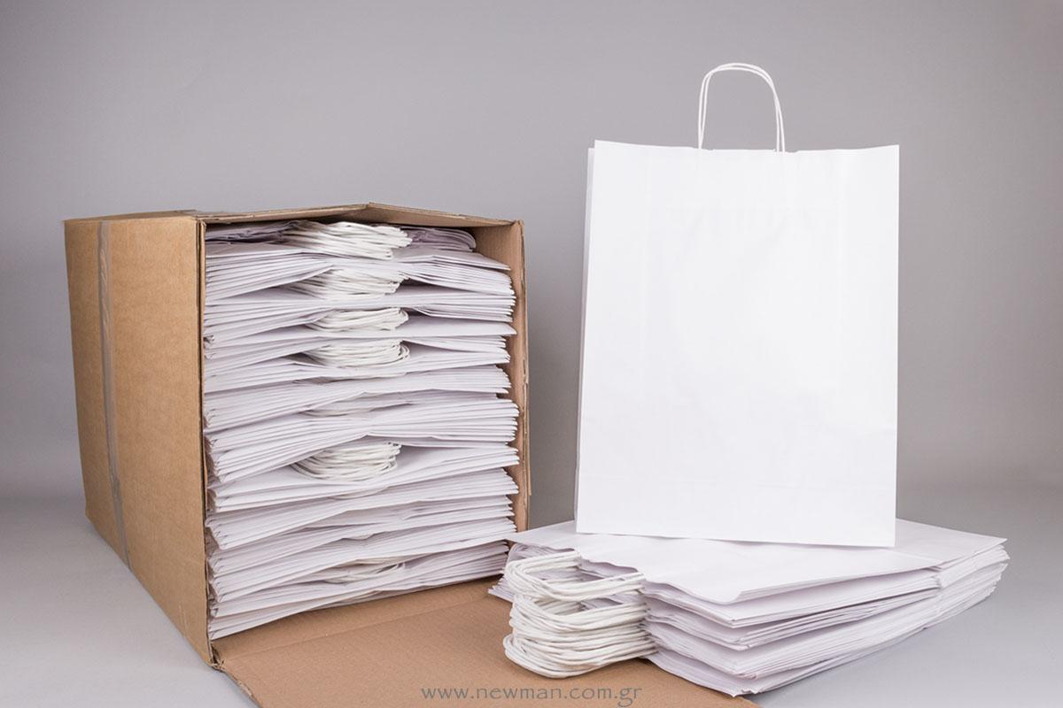 Τσάντα λευκή με στριφτό χεράκι 41x32+12 cm