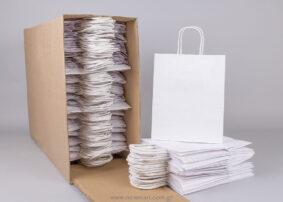 Τσάντα λευκή με στριφτό χεράκι 22x18+8 cm