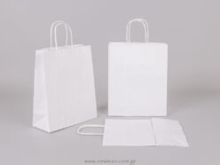 White carrier bag 22x18+8 cm