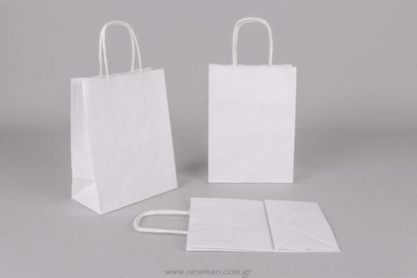 Τσάντα λευκή με στριφτό χεράκι 18x14+8 cm