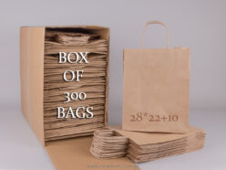 Box with 300 brown carrier bags