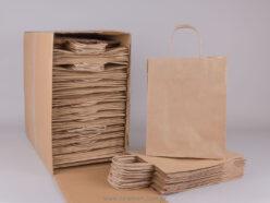 Τσάντα καφέ ριγέ 28x22+10 cm